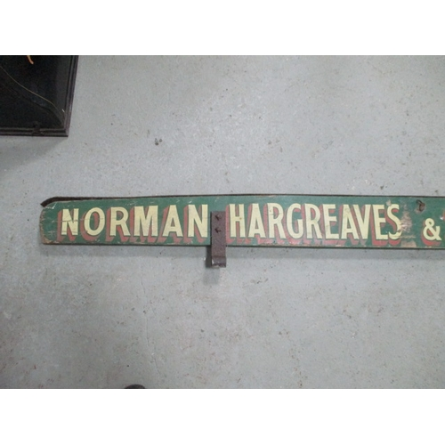 46 - Vintage wooden wagon top sign over 2 meters in length Norman Hargreaves and Sons LTD Lancaster with ...