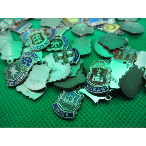 55 - Vintage silver charms over 60 silver and enamel shields