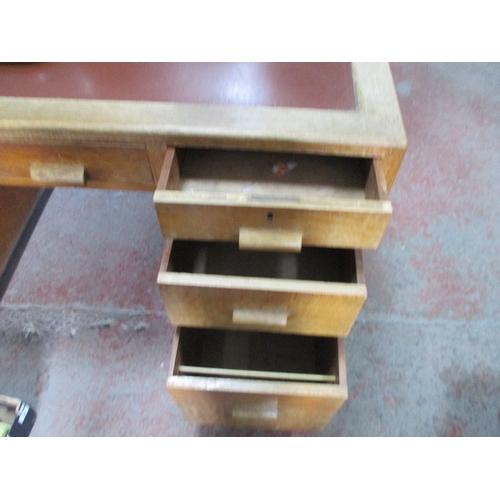 153 - Mid century oak leather topped desk