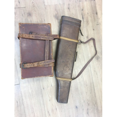 36 - Leg-o mutton gun case and leather covered box....
