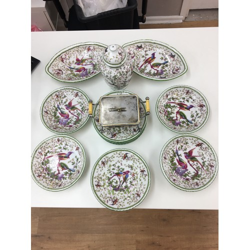 45 - Blue crown marked bird patterned part dinner service and imari patterned sardine dish....