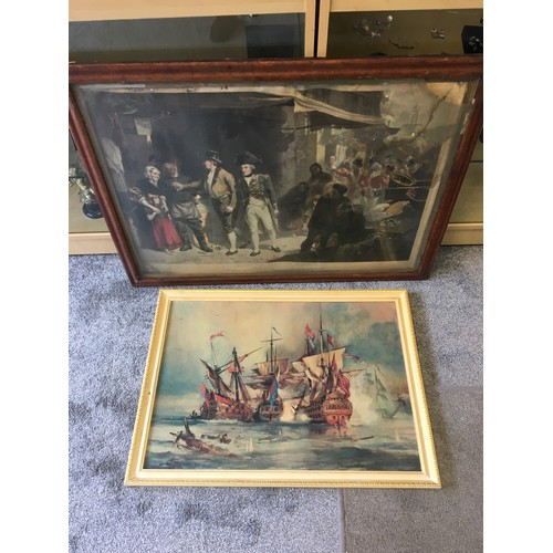 47 - Framed Nelson Print and Ship oileograph....