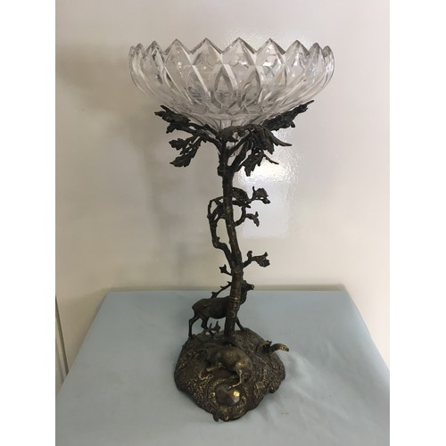 59 - 19th C Silver plate glass topped bon bon dish.with deer to the base....