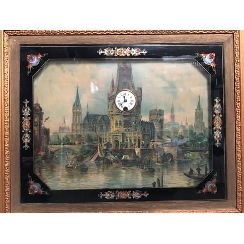 77 - Framed picture of European town with clock set to the picture.....