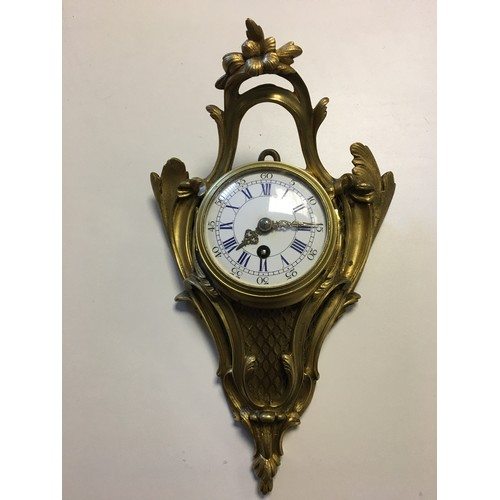 97 - Bronze 19th c wall hanging clock, dial approx 3 inches....