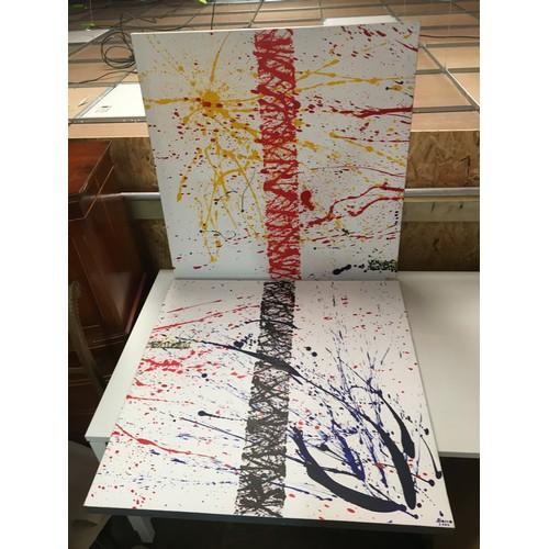 110 - Pair of Barro signed abstract paintings by Gerrard Bermudez....