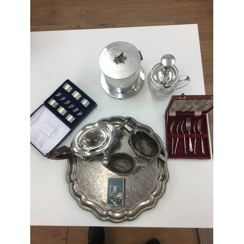 111 - Silver plated items to inc Sphinx finialled biscuit tin, tea set, tray etc....