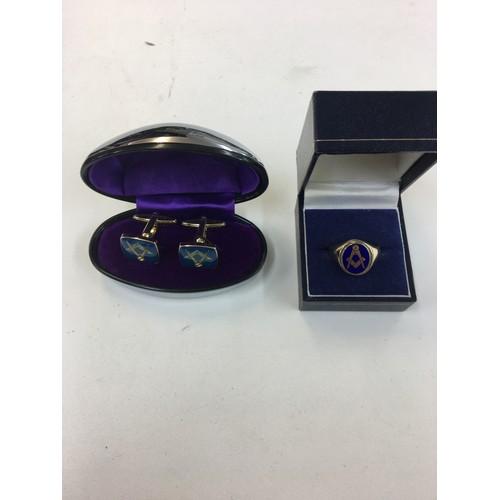 127 - 9ct masonic ring and plated cufflinks....