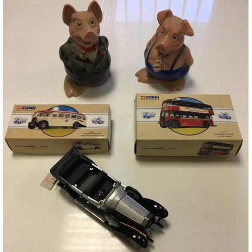 95 - Franklin mint precision model of Rolls Royce and Corgi cars and Natwest Pigs....