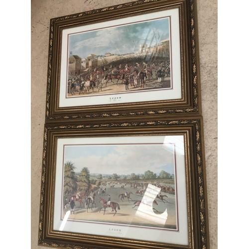 121 - Pair of framed Epsom horseracing prints....