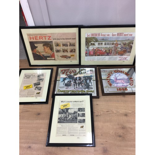 6 - Advertising mirrors to inc Fry`s along with framed vintage Hertz advertising items....