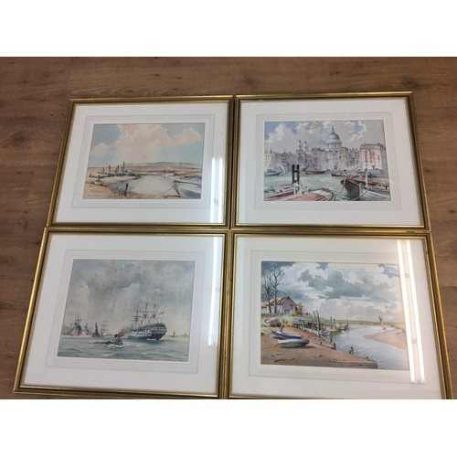 136 - Four Framed and glazed watercolours by Emerson H Groom, to include ship scenes and London ....