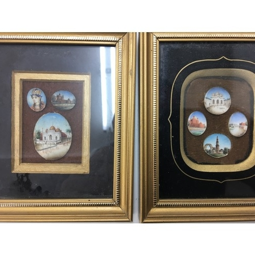 165 - Two framed sets of indian miniatures of buildings, and a portrait of a face....