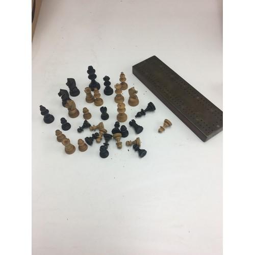 206 - Vintage boxwood chess set and crib board....