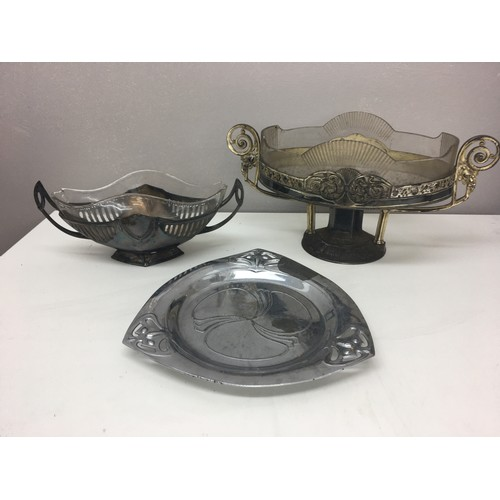 223 - WMF silver plated glass lined vases and dish....