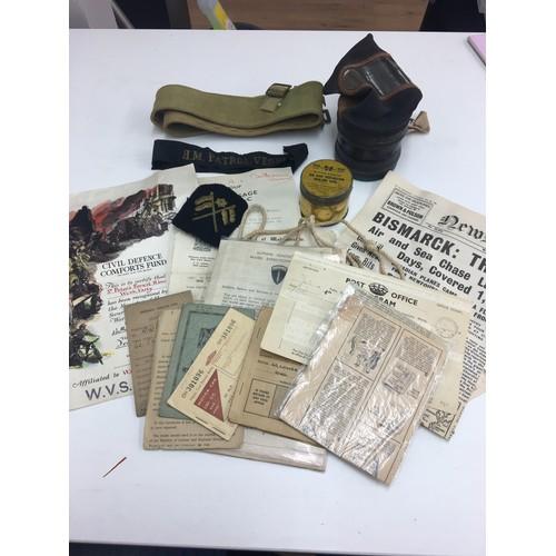 235 - WWII Items to inc Patrol vessel cap tally, ephemera and ARP items....