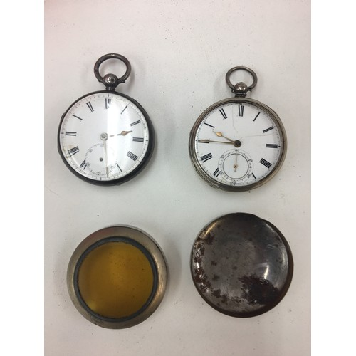 236 - Two HM silver pocket watches and watch cover....