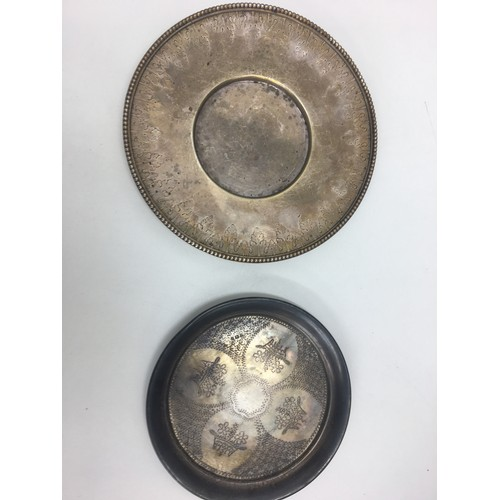 193 - HM Victorian silver salver and one other,  18 cm and 15 cm width...