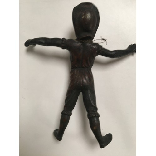 76 - 19th c Bronze of a 17th c man in underwear and hat. measures 17 cm x 10 cm....