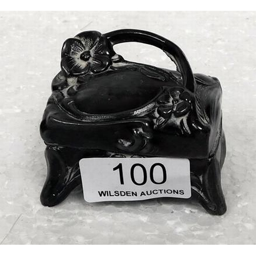 100 - Art Nouveau Miniature silk lined pewter box
