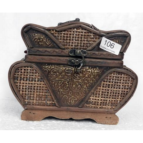 106 - Decorative basketwork wooden box