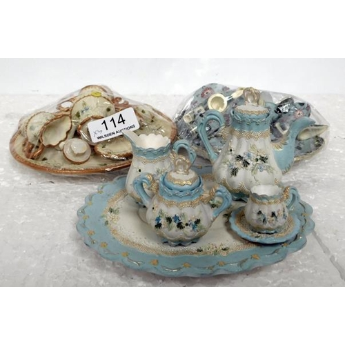 114 - Three full sets of children's / dolls house tea sets