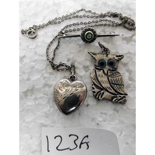 123a - Silver owl pendant, silver locket & chain + brooch