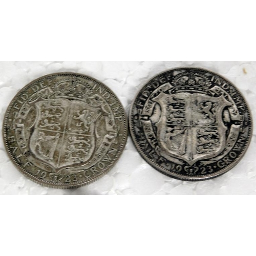125a - 2 x 1923 Half crowns George V