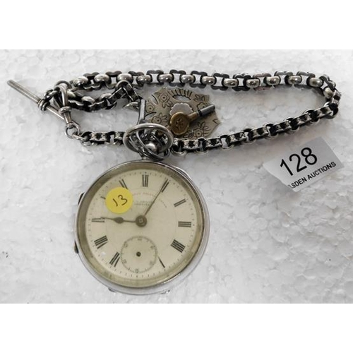 128 - Gravers silver pocket watch with keys, second hand missing & face loose. Has a silver Albert chain -...