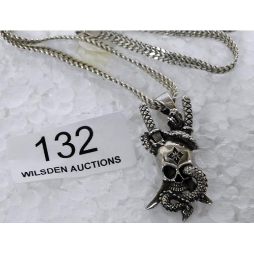 132 - Italy marked white meatal necklace & skull pendant
