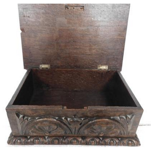 144 - Antique carved Oak Box