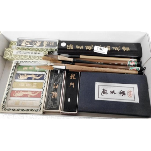 146 - Chinese Artists painting kit including 10 brushes