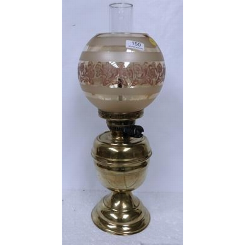 150 - Ornamental Brass Gas lamp with funnel & Shade