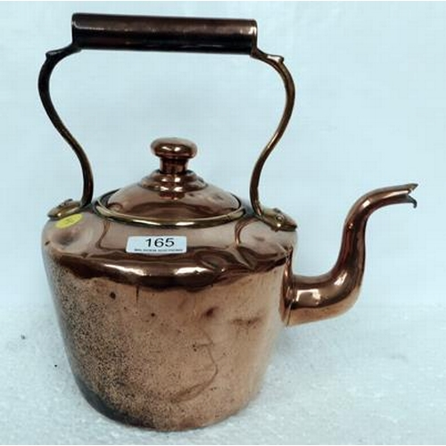 165 - Old,  heavy, polished copper kettle