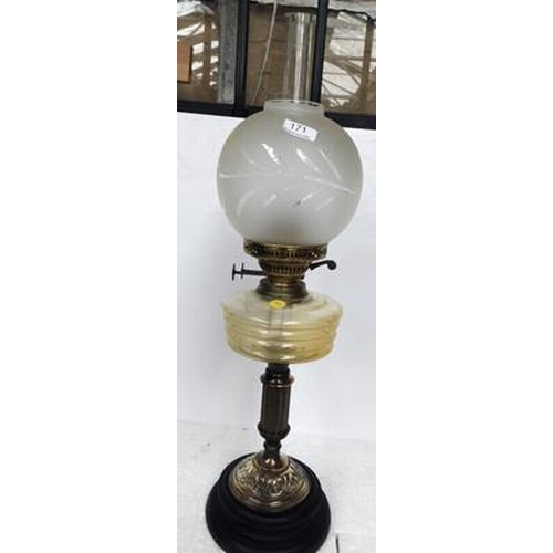 171 - Real oil lamp with Vaseline  glass sump
