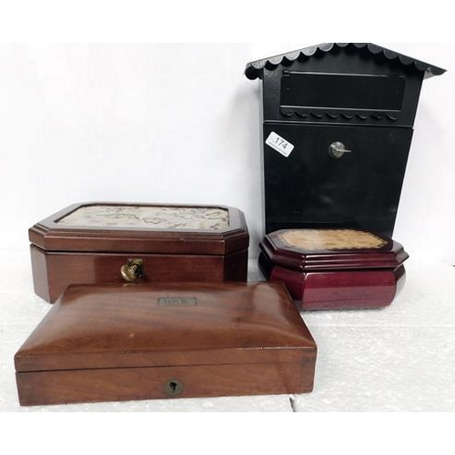 174 - Collection of wooden boxes & a letterbox
