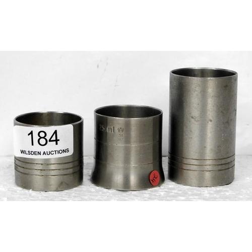 184 - Three different sized spirit measures