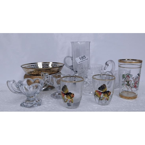 185 - 9 glass items including pair of glass salts