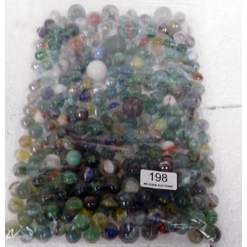 198 - Large bag of marbles (Some rare & some large)