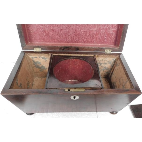 2 - Rosewood tea caddy all complete
