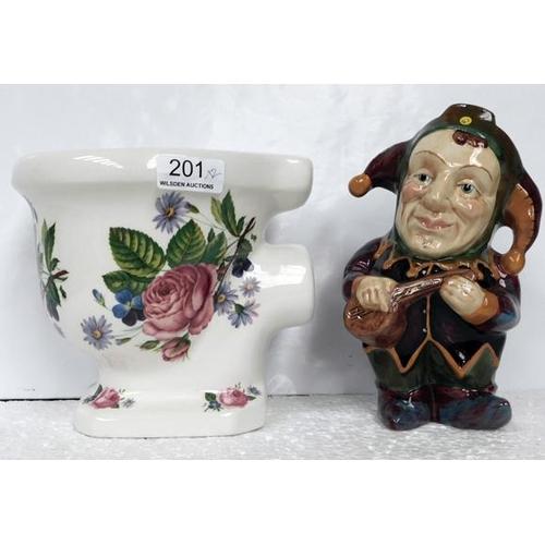 201 - Arthur wood planter shaped like a WC & Staffordshire Toby Jug