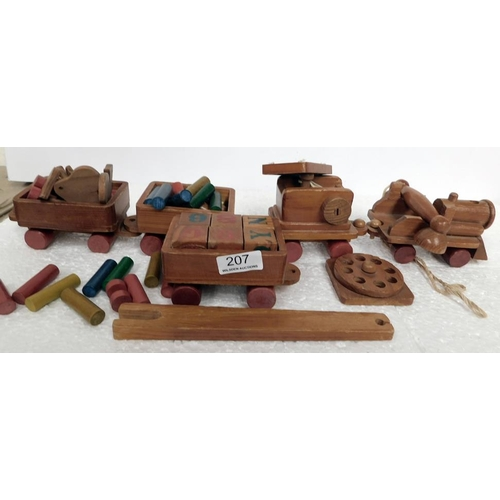 207 - Vintage wooden pull along train with building blocks