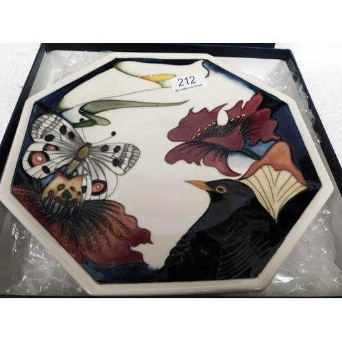 212 - Moorcroft Hexagonal Plate signed on back
