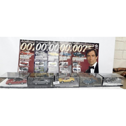 232 - Five James bond cars with matching magazines