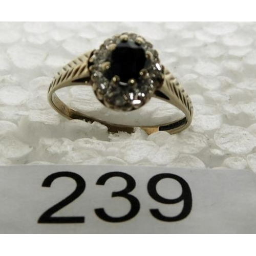 239 - 9ct gold sapphire & diamond cluster ring size N