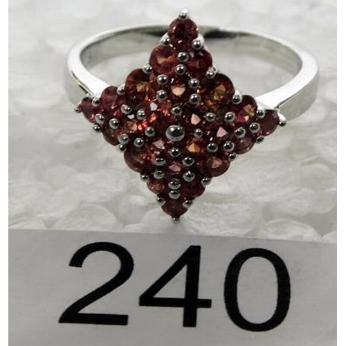 240 - 925 Silver cargo sapphire ring size T½