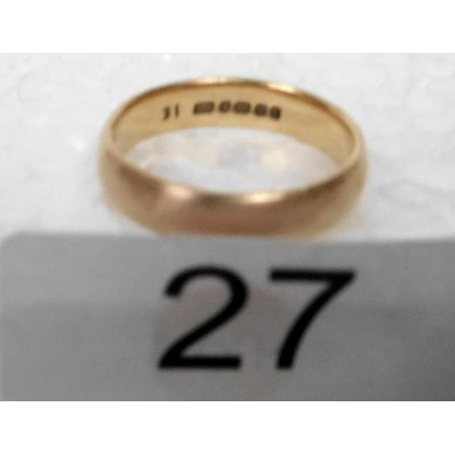 27 - Gents 22ct Wedding Band 4.5gms size J½