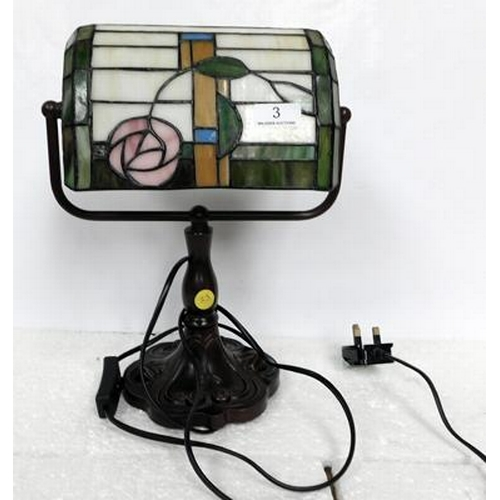 3 - Tiffany style Bankers lamp w/o