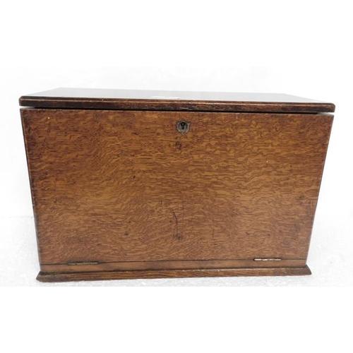 5 - Oak Writing Box / slope with inkwells & key