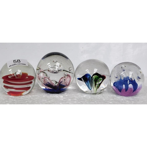 58 - 4 glass paperweights